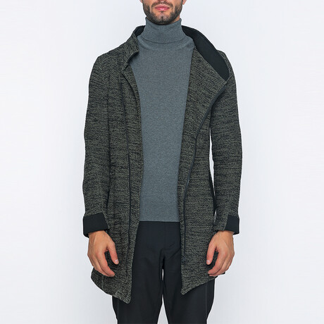 Martin Long Zip-Up Winter Coat // Khaki + Black (S)