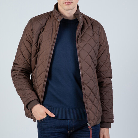 Ashton Quilted Bomber Jacket //Brown (S)