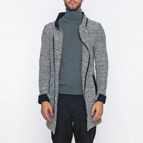 Mick Long Zip-Up Winter Coat // White + Black (S)