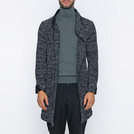 Mitchell Long Zip-Up Winter Coat // Navy + White (S)
