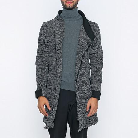 Marvin Long Zip-Up Winter Coat // Black + White (S)