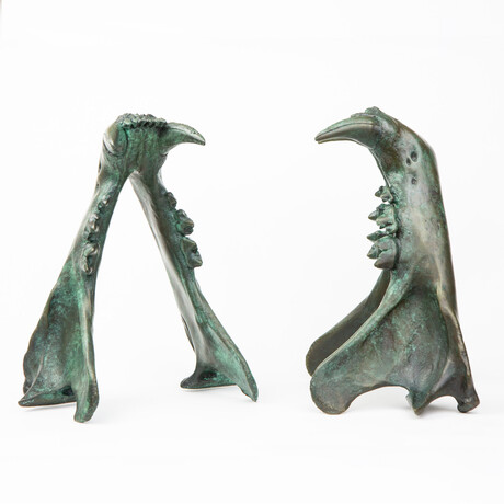 Tiger Jaw Bookends // Verdigris Bronze // Set of 2