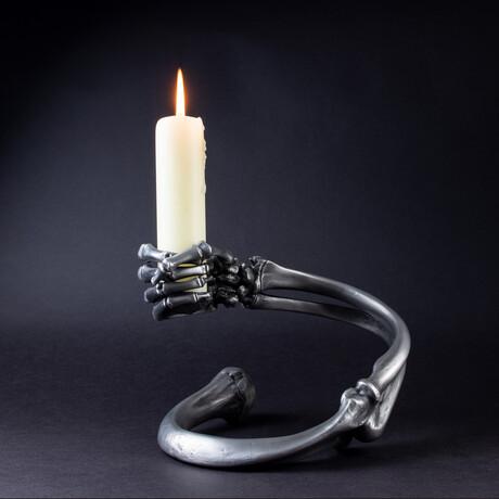 Armbone Candleholder // Satin Steel // Right Arm