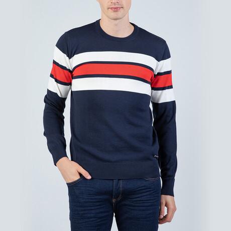 Augustine Pullover Sweater // Navy + Ecru (S)