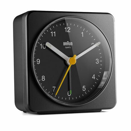 Square Analog Alarm Clock (Black)