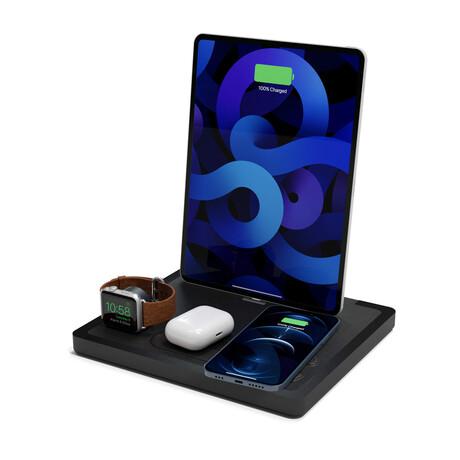 NYTSTND QUAD MagSafe Wireless Charging Station + USB-C Port // Black Top (Oak Base)
