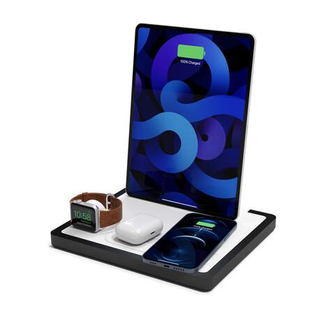 NYTSTND QUAD MagSafe Wireless Charging Station + USB-C Port // White Top (Oak Base)