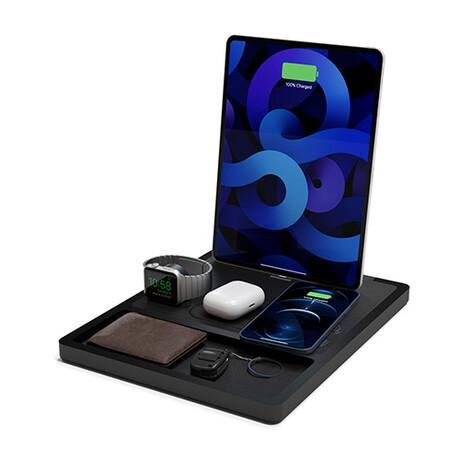 NYTSTND QUAD TRAY MagSafe Wireless Charging Station + USB-C Port // Black Top (Oak Base)