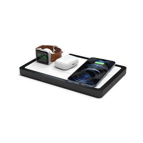 NYTSTND TRIO MagSafe Wireless Charging Station // White Top (Oak Base)