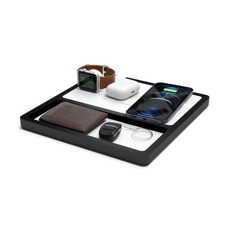 NYTSTND TRIO TRAY MagSafe Wireless Charging Station // White Top (Oak Base)