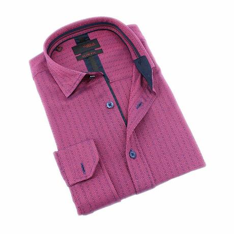 Fuchsia Textured Print Shirt // Fuchsia (S)