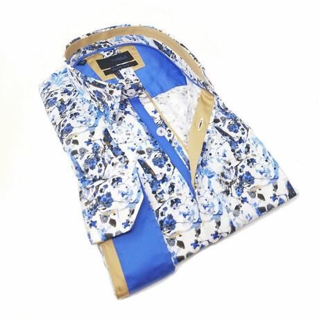 Blue Flower Print Shirt // Blue (S)