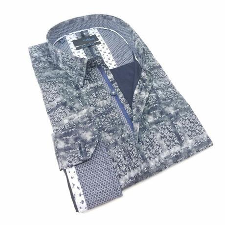 Stripe + Static Print Shirt // Navy (S)