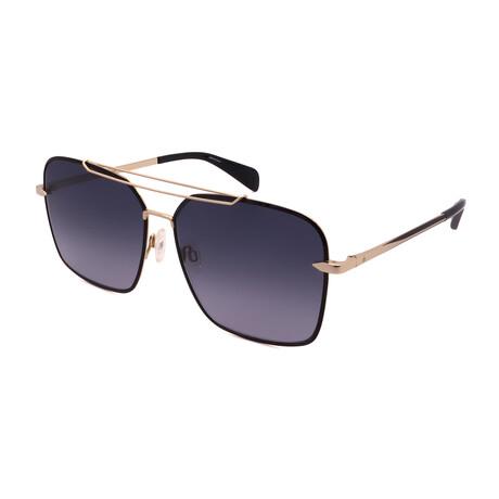 Unisex Square Sunglasses // Gold + Black + Gradient Gray