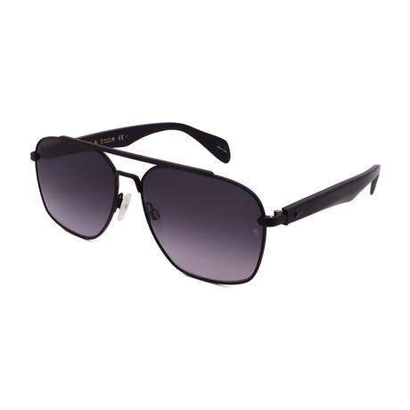 Men's Pilot Sunglasses // Matte Black + Black + Gradient Gray