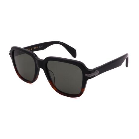 Unisex Square Polarized Sunglasses // Black Havana + Green