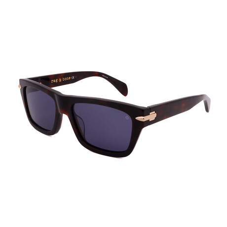 Men's Square Sunglasses // Dark Havana + Blue