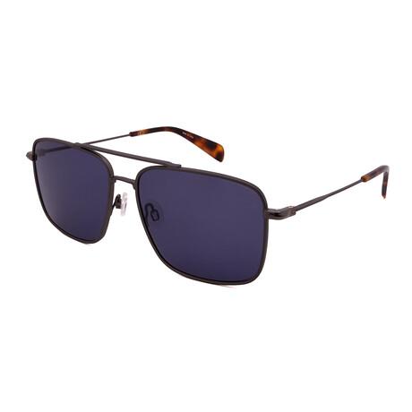Unisex Square Sunglasses // Matte Dark Ruthenium + Havana + Blue