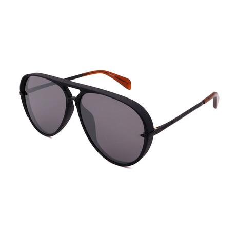 Men's Aviator Sunglasses // Matte Black + Brown + Mirror