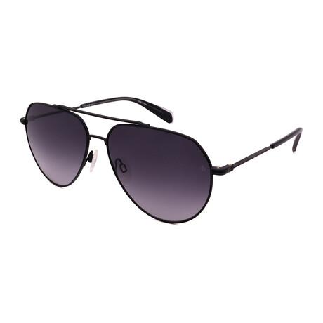Men's Aviator Sunglasses // Matte Black + Black + Gradient Gray