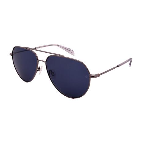 Unisex Aviator Sunglasses // Ruthenium + Clear + Blue