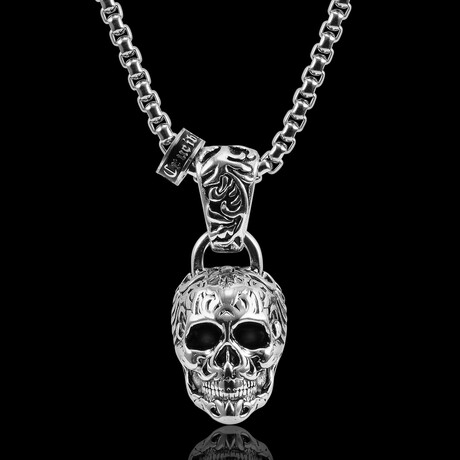 Antique + Polished Stainless Steel Extra Large Skull Necklace