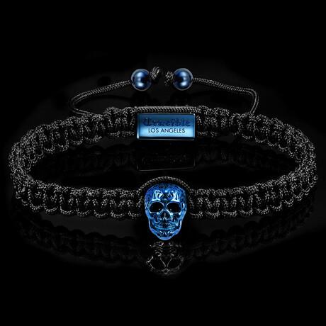 Stainless Steel Skulls Nylon Rope Cord Adjustable Bracelet (Blue)