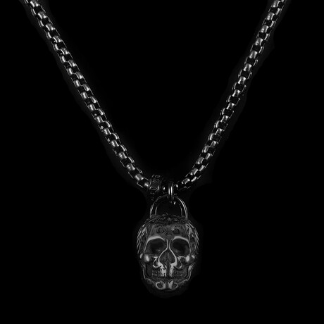 Antique + Polished Stainless Steel Large Skull Necklace