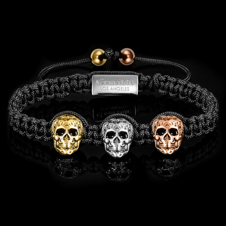 Tri Color Stainless Steel Skulls Adjustable Bracelet