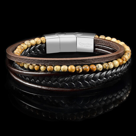 Picture Jasper Stone Leather Bracelet
