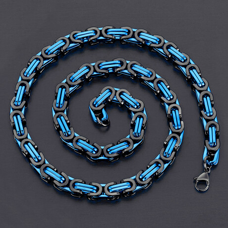 Stainless Steel Byzantine Chain Necklace // 8mm