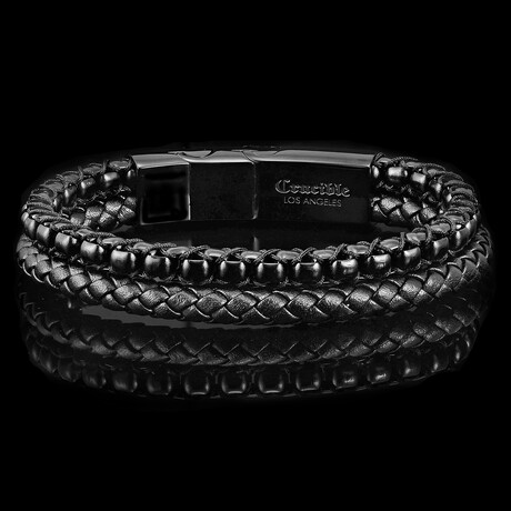 Stainless Steel Box Chain + Leather Bracelet // 12mm