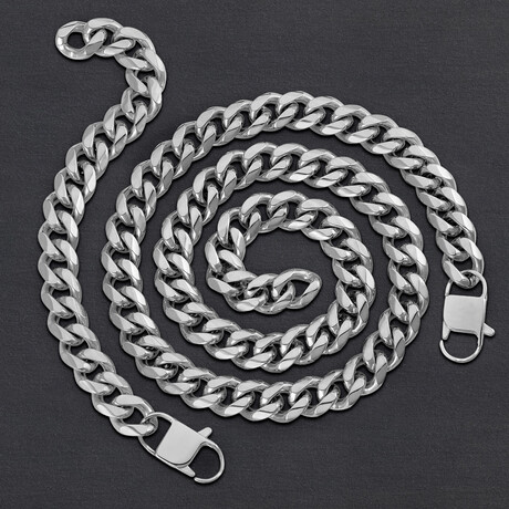 Stainless Steel Curb Chain Bracelet + Necklace Set // 14mm (Silver)