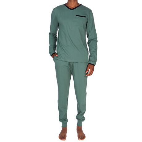 Lounge Pant + Shirt Set // Dark Green + Black (S)