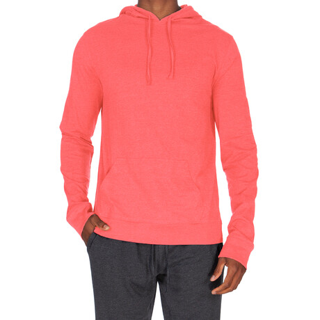 Super Soft Pullover Hoodie // Heather Coral (S)