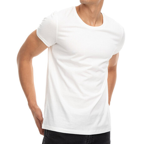 Callan Slim-Fit Crewneck Short Sleeve Tee // Ecru + White (Small)