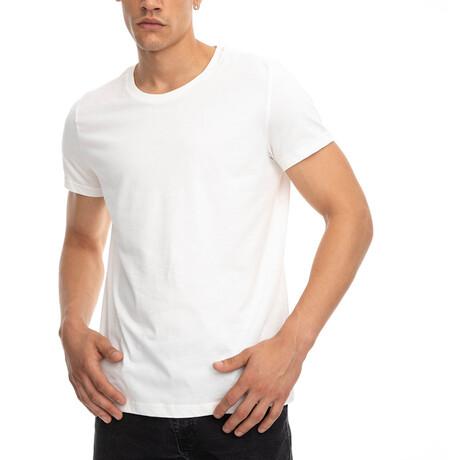 Jeremy Regular Fit Crewneck Short Sleeve Tee // Ecru + White (Small)