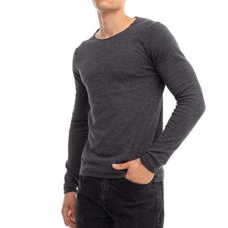 Kyle Slim-Fit Scoopneck Longsleeve Tee // Dark Gray (Small)