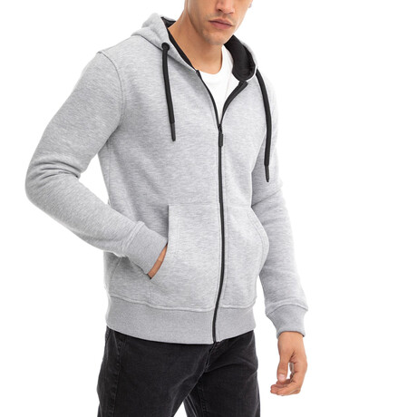 Anthony Zip-Up Hoodie // Light Gray (Small)