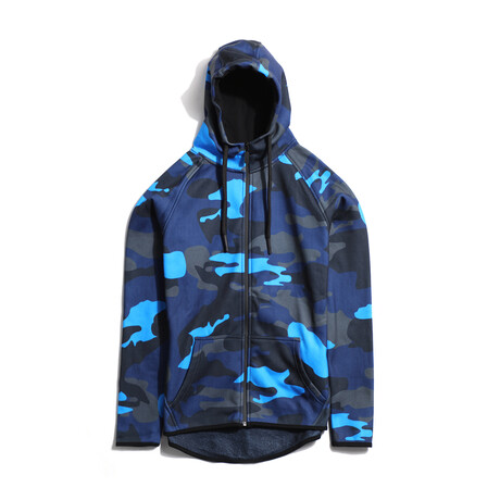 Derek Zip-Up Hoodie // Black + Blue Camo (Small)