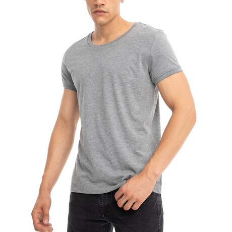 Carson Slim-Fit Crewneck Short Sleeve Tee // Gray (Small)