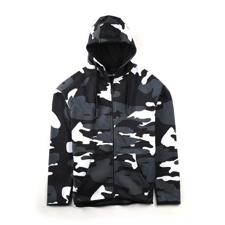 Drake Zip-Up Hoodie // Black + White Camo (Small)