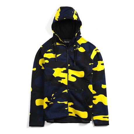 Dale Zip-Up Hoodie // Navy + Yellow Camo (Small)
