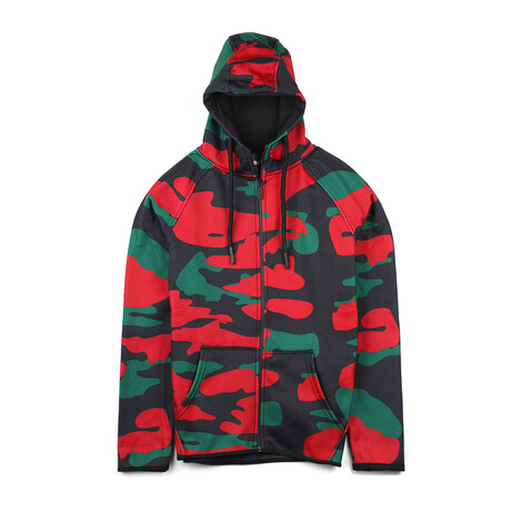Dylan Zip-Up Hoodie // Black + Red + Green Camo (Small)