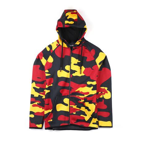 Darren Zip-Up Hoodie // Red + Yellow Camo (Small)