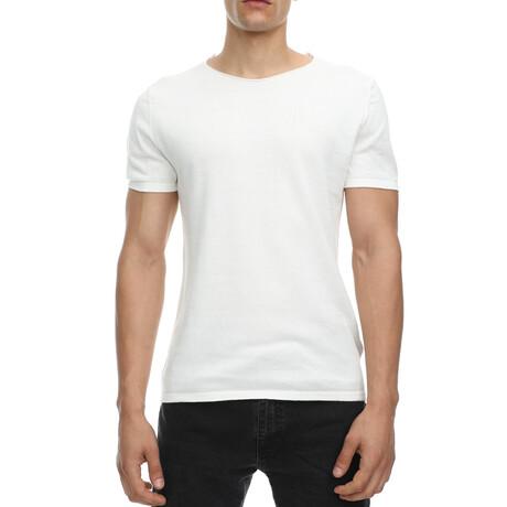 Milo Slim-Fit Scoopneck Short Sleeve Tee // Ecru + White (Small)