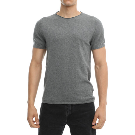 Thiago Slim-Fit Scoopneck Short Sleeve Tee // Anthracite (Small)