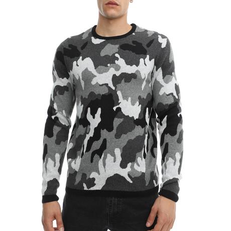 Calvin Knit Crewneck Pullover Sweater // Black + White Camo (Small)