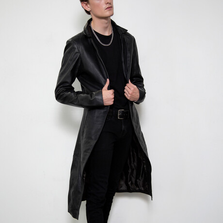 Punisher Leather Trench Coat // Black (XS)