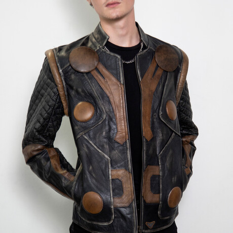 Thor Armor Leather Jacket // Gray + Brown (XS)